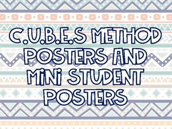 CUBES Method Posters & Student Mini Poster Tribal Themed