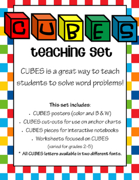 CUBES Poster, Anchor Chart Pieces, Journal Pieces, and Worksheets