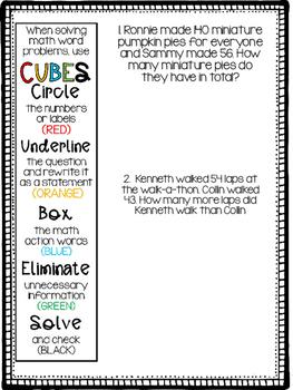 CUBES - Problem Solving Book- Third Grade