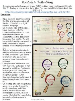 CUBES Problem-Solving Math Journal Entries