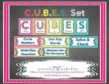 CUBES Problem Solving Math Strategy Bulletin Board Set - EDITABLE