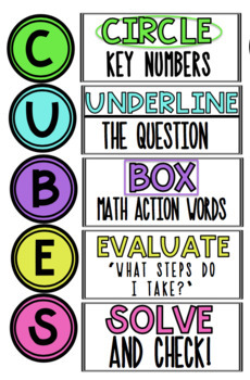 image about Cubes Math Strategy Printable known as C.U.B.E.S. Trouble Fixing Math Procedure Posters/Bulletin Board