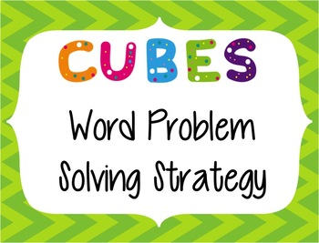 CUBES Problem Solving Strategy--Lime Green Chevron