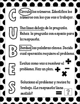CUBES Problem Solving Strategy Poster (Spanish)