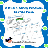 CUBES Story Problem Solving and Action Words with Samples