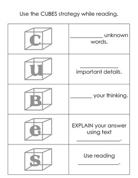 CUBES Reading Strategy Chart/Notes