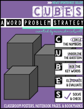 UPDATED! CUBES Word Problem Strategy Posters, Notebook Pages, and Bookmarks