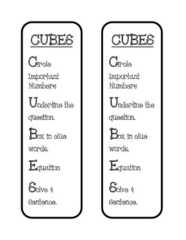 CUBES a Math Problem Solving Strategy