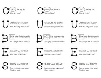 CUBES math strategy bookmark