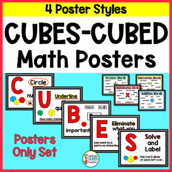 Word Problem Posters For CUBES or CUBED Strategy - 4 Different Styles
