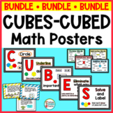 CUBES Word Problem Strategy Posters and Task Card BUNDLE for Math