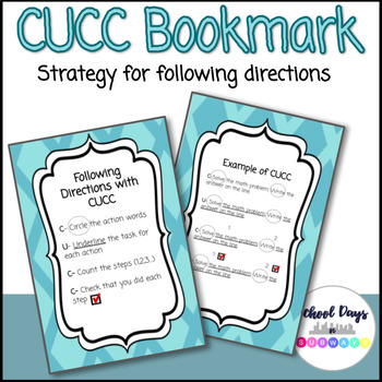 CUCC Strategy for Following Directions: Double-Sided Bookmark [FREEBIE]