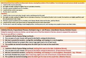 CUMULATIVE SENTENCES: LESSON AND RESOURCES