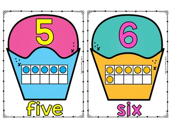 CUPCAKE Math - Ten Frame Number Posters 1 - 20