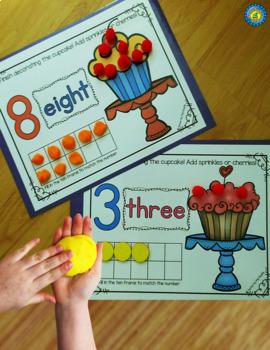 CUPCAKE Playdough - Number Mats 1-10 ~ Kindergarten Common Core