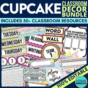 CUPCAKE THEME Classroom Decor EDITABLE