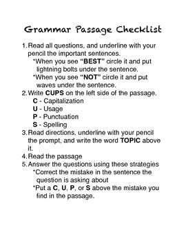 CUPS Grammar Passage Editing Strategy