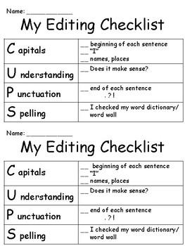 CUPS - Writing Anchor Posters and Editing Checklist