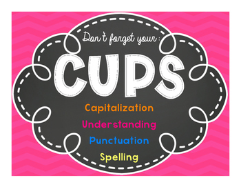 CUPS classroom chevron poster and individual desk checklist