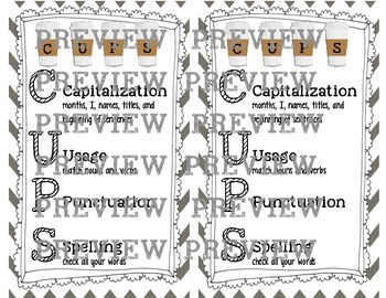 CUPS editing sheet for students