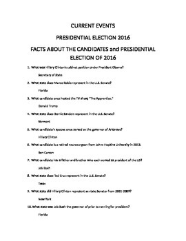 CURRENT EVENTS 2016 PRESIDENTIAL CANDIDATES AND ELECTION QUIZ