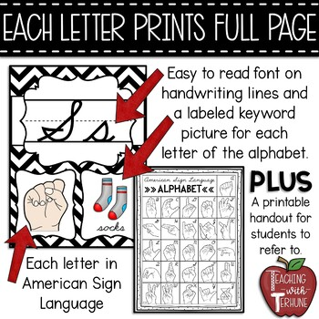 Editable CURSIVE Alphabet Posters with American Sign Language {Chevron}