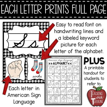 Editable CURSIVE Alphabet Posters with American Sign Language {Houndstooth}