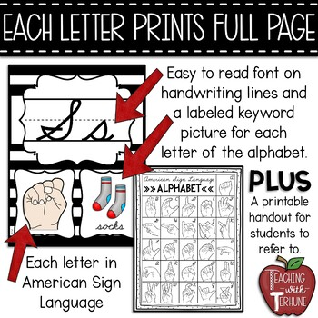 Editable CURSIVE Alphabet Posters with American Sign Language {Striped}