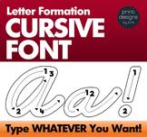 CURSIVE Letter Trace Fun Font • Letter Formation Font • Writing Letters Font