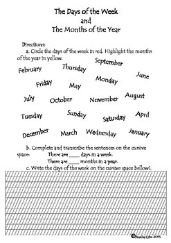 CURSIVE WRITING - DAYS OF THE WEEK & MONTHS OF THE YEAR