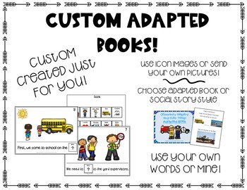 CUSTOM Adapted Books! Crafted just for YOU! Early Learning, Autism, SpEd
