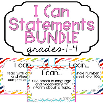 "CUSTOM BUNDLE: Grades 1-4 ""I Can"" Statements Bundle: All Standards - Rainbow"