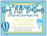 CUSTOM- Blue Hot Air Balloon Classroom Decoration Pack-Valery M.