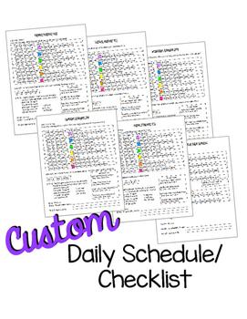 CUSTOM Daily Schedule/Checklist