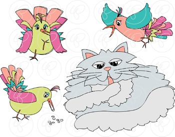 Story Time - Cat and Bird Story Element Clipart by Poppydreamz