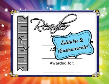 CUSTOMIZABLE Awesome Reader Award Girl