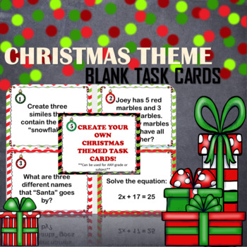 CUSTOMIZABLE Blank Christmas Theme Task Cards