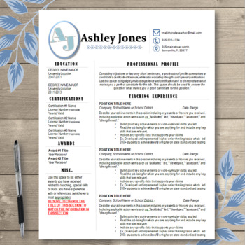 Teacher Resume Template EDITABLE Blue Initials