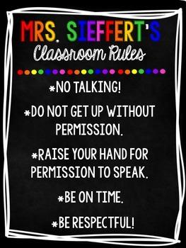 CUSTOMIZABLE CLASSROOM RULES