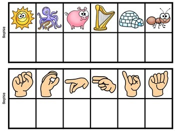 Student Names CUSTOM Secret Word Cards (Beginning Sounds & Sign Language)
