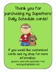 CUSTOMIZED Super Hero Schedule Cards