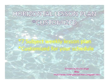 CUSTOMIZED Weekly Lesson Plan - Horizontal