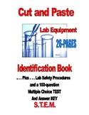 HIGH SCHOOL CUT & PASTE LAB EQUIPMENT IDENTIFICATION BOOK plus 100-QUESTION TEST