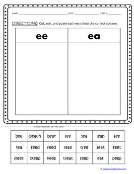 CUT, SORT, & PASTE: vowel & vowel consonant digraphs