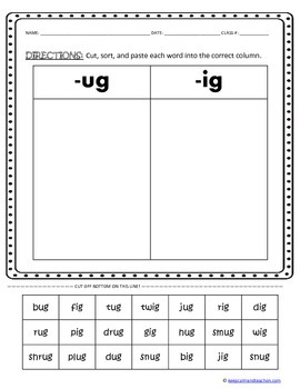 CUT, SORT, & PASTE: word families