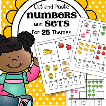 Numbers CUT and PASTE Match for 25 Themes