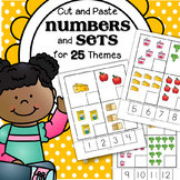 Numbers 1-12 Cut and Paste Activity for 25 Early Learning Themes - 78 pages