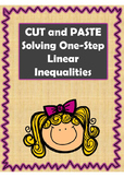 Algebra Solving One-Step Linear Inequalities Cut and Paste