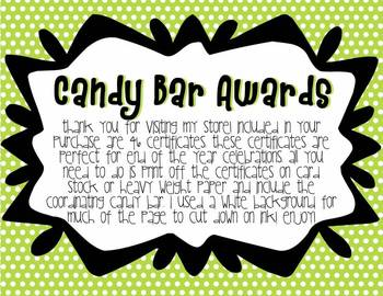 CUTE Candy Bar End of the Year Certificates and Awards
