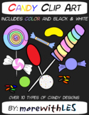 CUTE Rainbow Candy Clip Art Pack with Color and Black & White